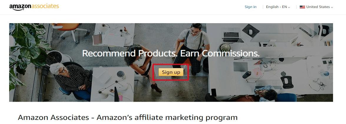 amazon affiliate program homepage